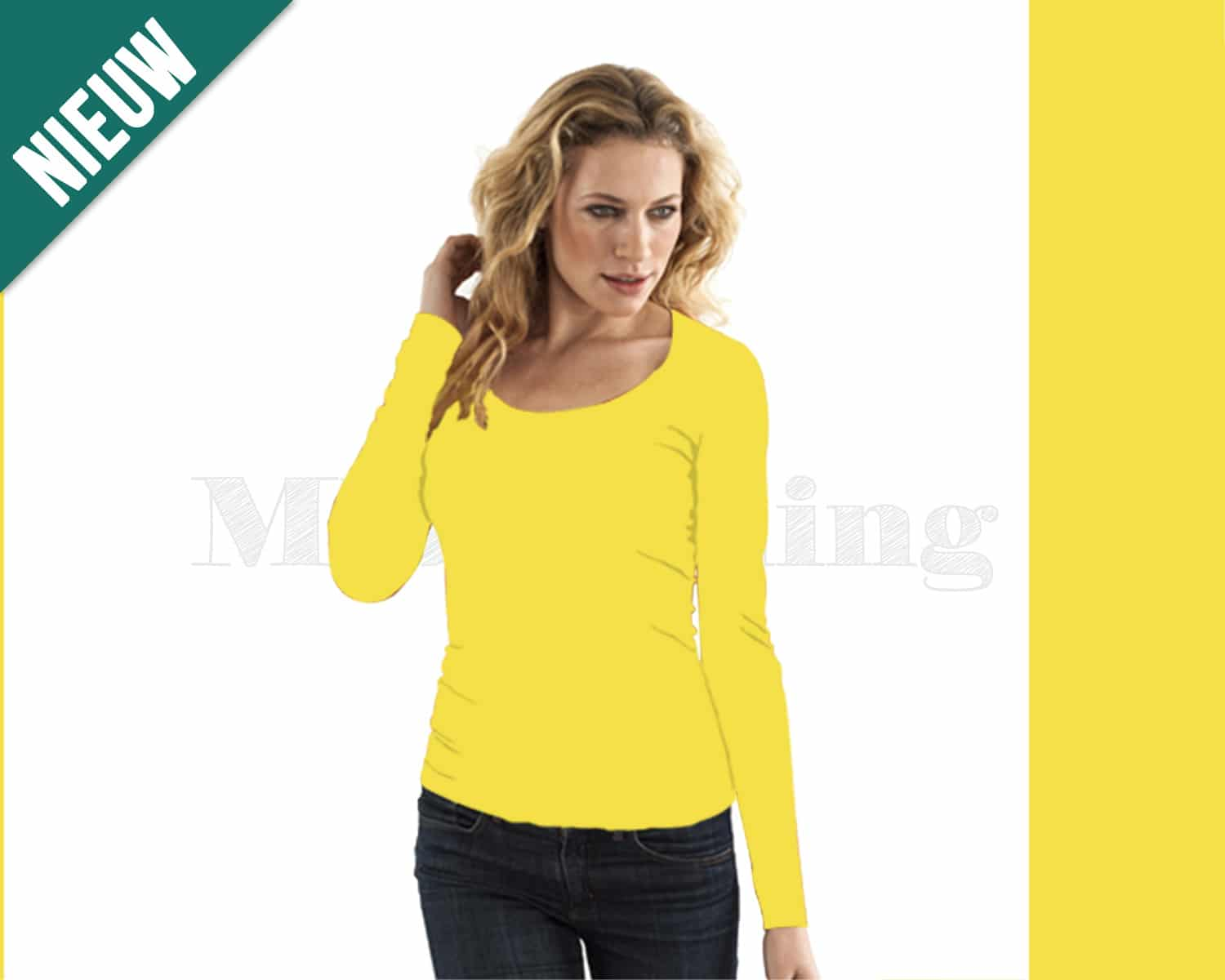 Slippely shirt lange mouw viscose 17730 Yellow (geel)